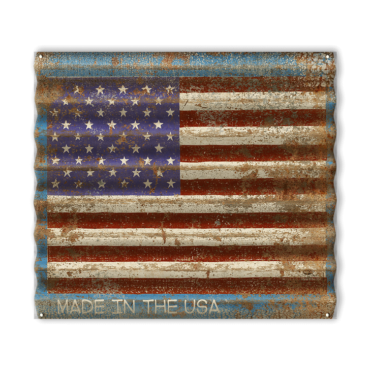 Usa Flag Corrugated Metal Sign Old Wood Signs