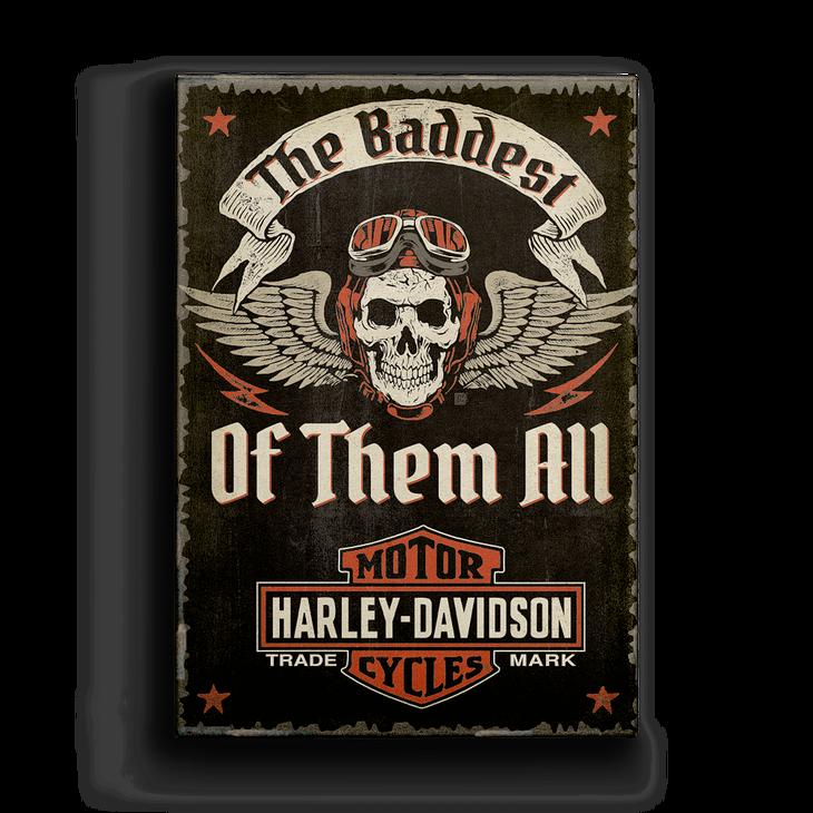 winged skull harley-davidson - metal box art sign - old wood signs