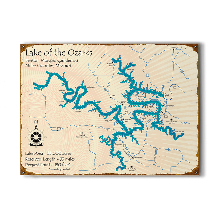 Lake Of The Ozarks Vintage Map Sign Old Wood Signs