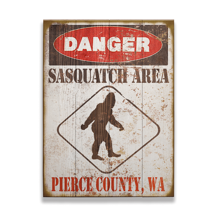 Danger Sasquatch Area Sign Old Wood Signs