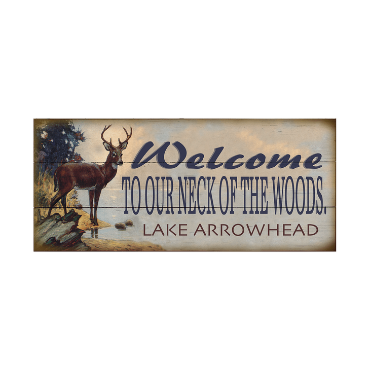 Welcome to our neck off the woods Home Decor Rustic Primitive wood Sign USA