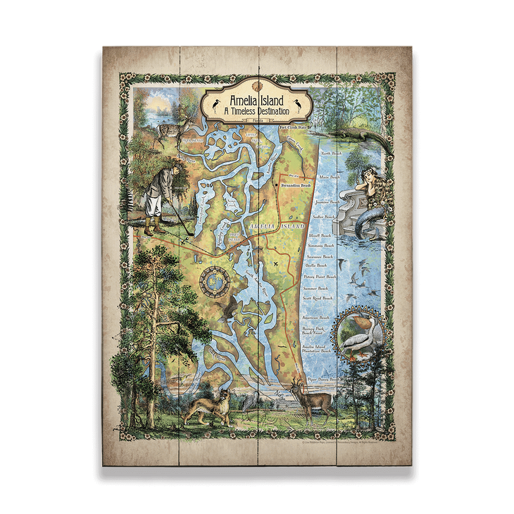 Historic Amelia Island Florida Vintage Map - Old Wood Signs