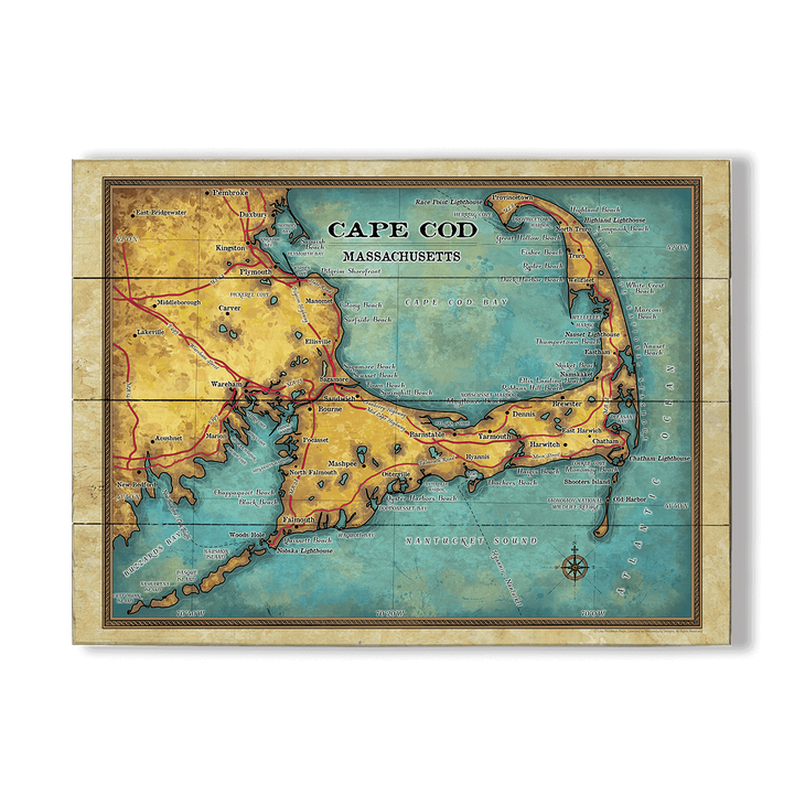 Cape Cod Massachusetts Vintage Map - Old Wood Signs