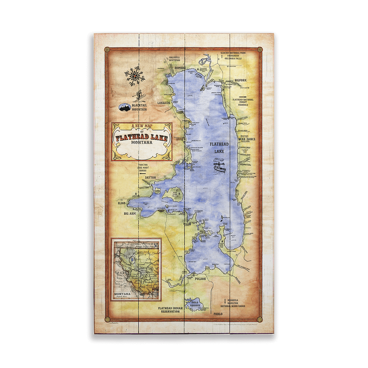 Historic Flathead Lake Montana Vintage Map Old Wood Signs