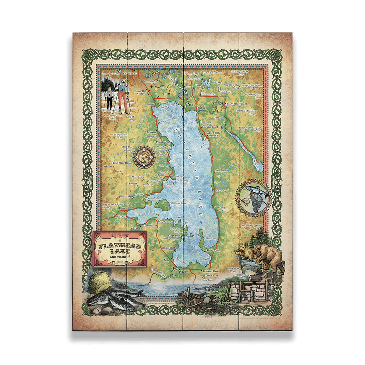 Historic Flathead Lake Montana Vintage Map Version 2 Old Wood Signs