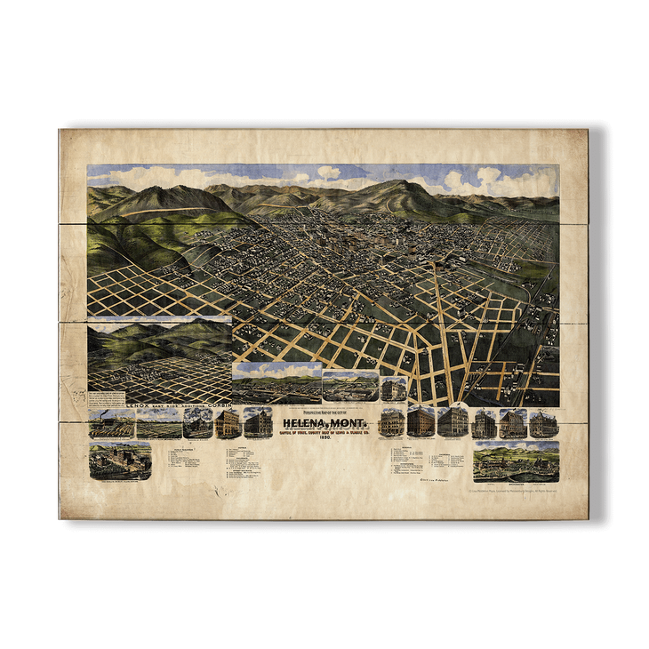 Historic Vintage Map of Helena Montana - Old Wood Signs