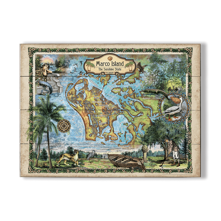 Map Of Marco Island Florida.Historic Marco Island Florida Vintage Map Old Wood Signs