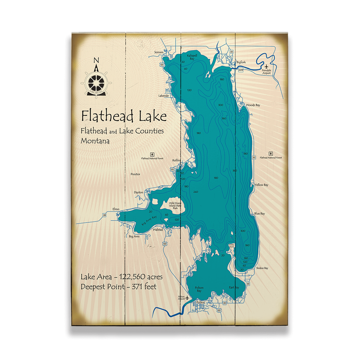 Flathead Lake Map Sign Old Wood Signs