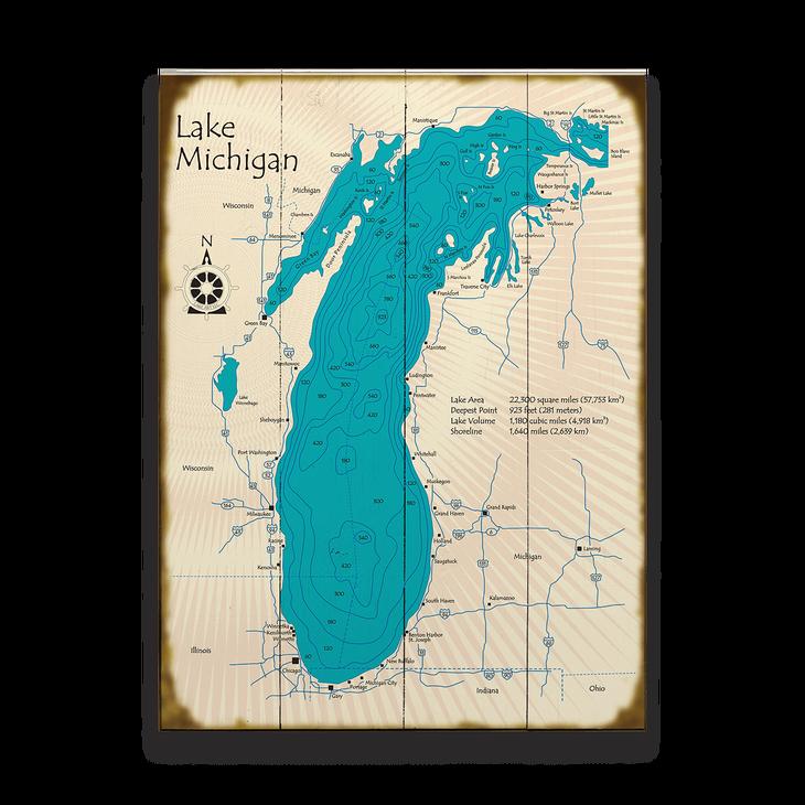 Lake Michigan Map Sign Old Wood Signs