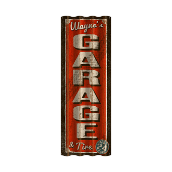 Garage and Tire Corrugated Sign