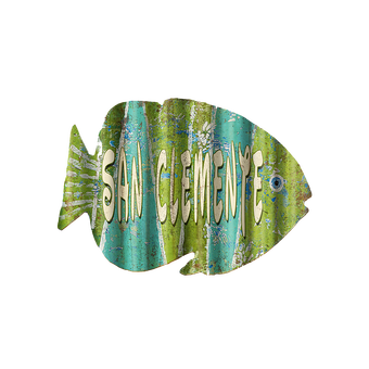 Corrugated Blue Green Fish Sign