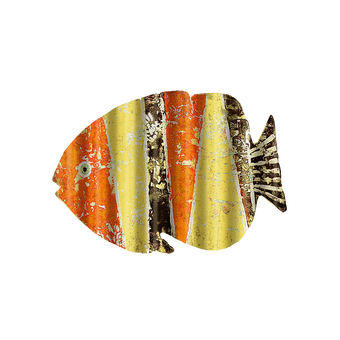 Corrugated Orange Yellow Black Fish Sign