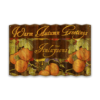 Warm Autumn Greetings Corrugated Sign