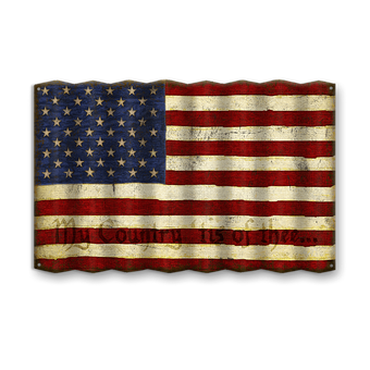 American Flag with Phrase - Corrugated Metal Sign