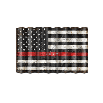Corrugated US Firefighters Flag