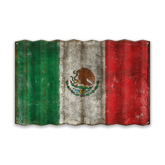 The Flag of Mexico - Corrugated Metal Sign