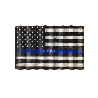 Corrugated Us Police Officers Flag