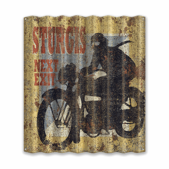 Motorcycle Sturgis Next Exit Corrugated Metal Sign