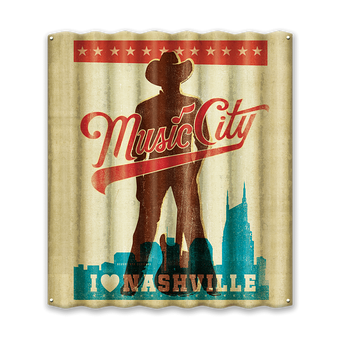 Nashville Music City Cowboy Corrugated Sign