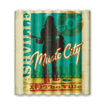 Nashville Music City Woman Corrugated Sign