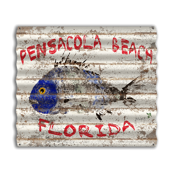 Fishy Corrugated Beach Sign
