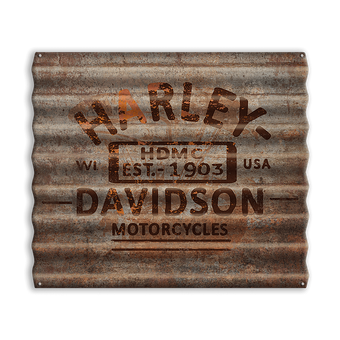Harley-Davidson® Rusted Corrugated Metal Sign