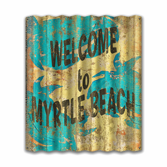 Corrugated Turquoise Crab Welcome Sign