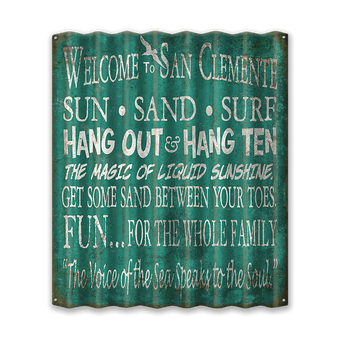 Welcome to the Beach Rules Corrugated Sign
