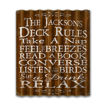 Deck Rules Corrugated Sign