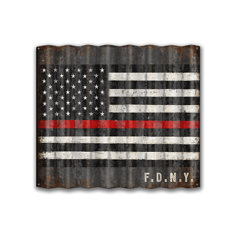 Large Corrugated US Firefighters Flag