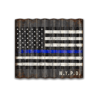 Large Corrugated Us Police Officers Flag