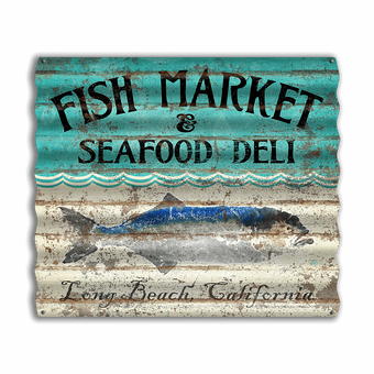 Fish Market and Seafood Deli Sign
