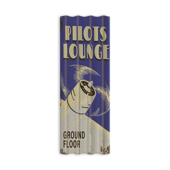 Pilots Lounge Corrugated Sign