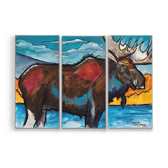 Contemporary 3-Piece Moose Box Art