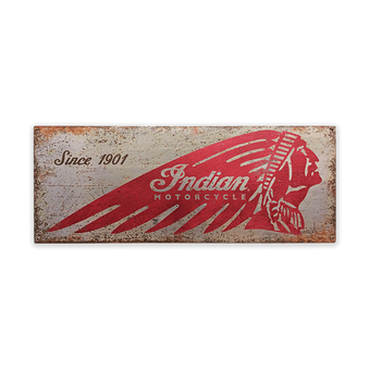 Indian Motorcycle Distressed Steel Sign Silver