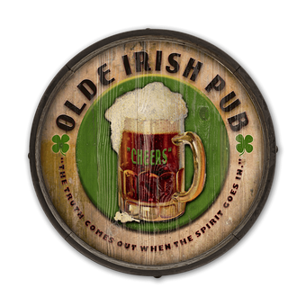 Irish Pub - Barrel End Wooden Sign