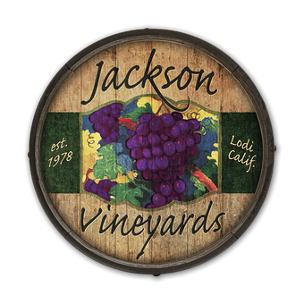 Red Grape Wine - Barrel End Wooden Sign