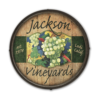 White Grape Wine - Barrel End Wooden Sign
