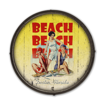 Beach Beach Beach - Barrel End Wooden Sign