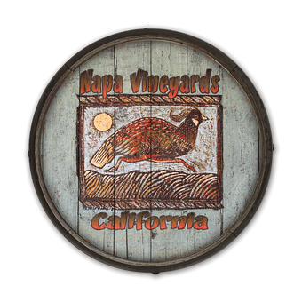 Running Quail - Barrel End Wooden Sign