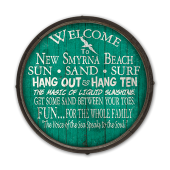 Welcome To The Beach - Barrel End Wooden Sign