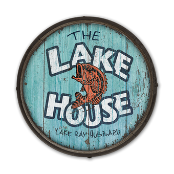 The Lake House - Barrel End Wooden Sign