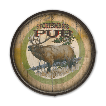 Rustic Elk Barrel End Wooden Sign