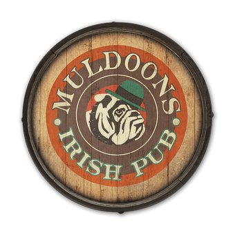 Bulldog Irish Pub Barrel End Wooden Sign