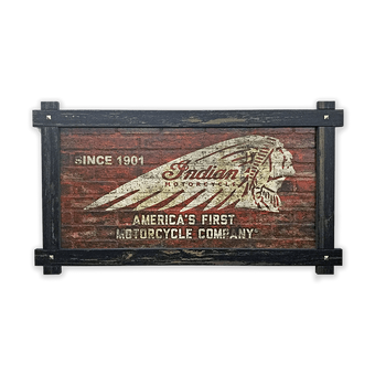 Indian Motorcycle Brick Textured Headdress Frame Sign