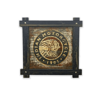 Indian Motorcycle Brick Textured Logo Frame Sign