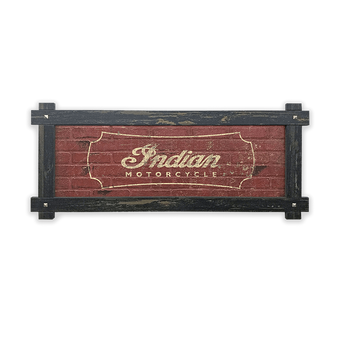 Indian Motorcycle Simple Logo Sign with Wood Frame