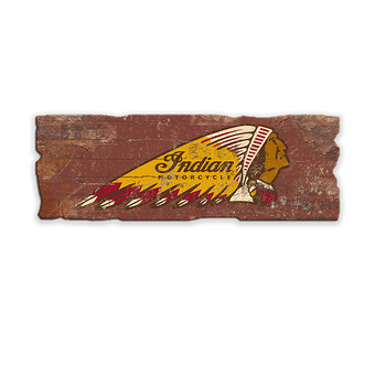 Indian Motorcycle Brick-Textured Sign with Uneven Edge