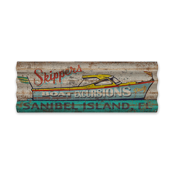 Skippers Boat Excursions Corrugated Sign