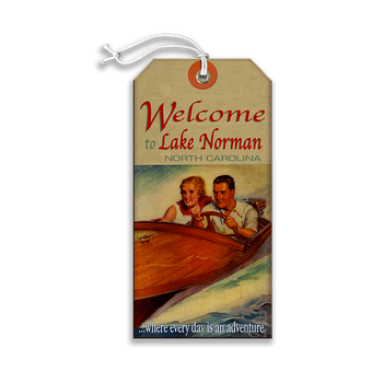 Wooden Boat Adventure Couple Sign - Travel Tag